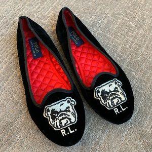 Polo Ralph Lauren black velvet bull dog slippers